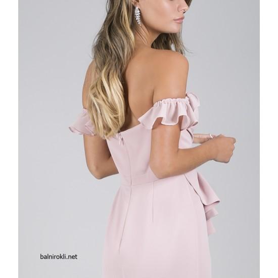 Елегантна Дълга Розова Бална Рокля Цепка