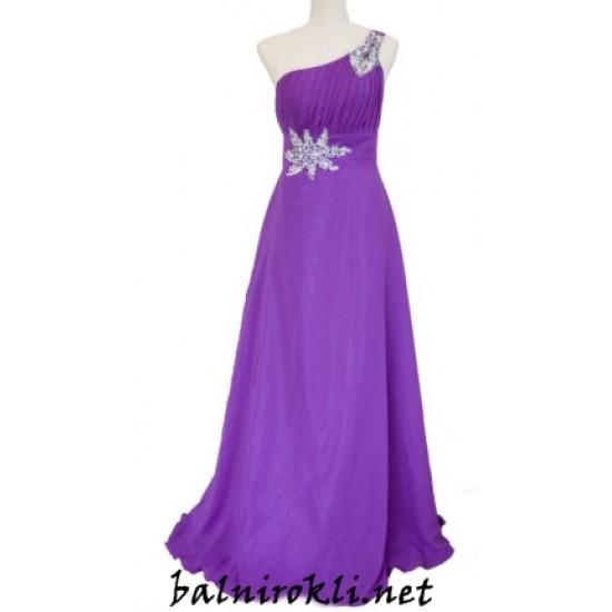 Елегантна Дълга Бална Рокля Едно Рамо Виолетов Цвят