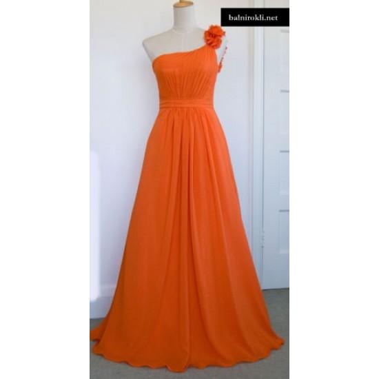 Абитуриентска Дълга Вечерна Рокля Портокалов Цвят
