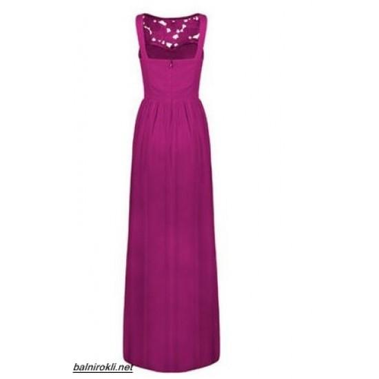 Дълга Официална Рокля Дантела Виолетов Цвят