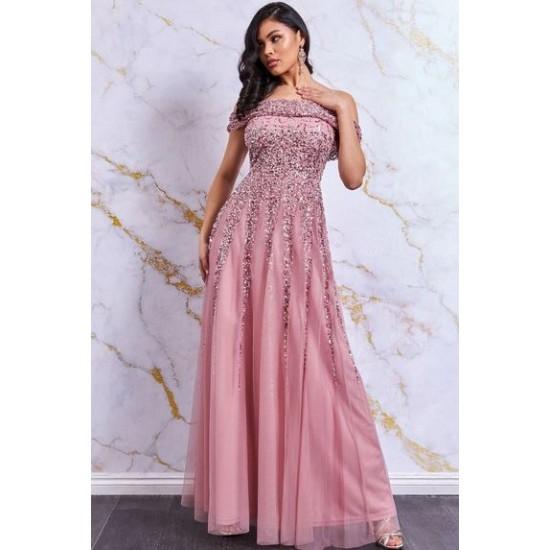 Елегантна Бална Дълга Рокля Блестяща Розов Цвят