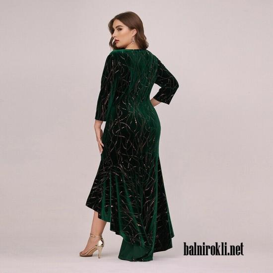 Асиметрична Тъмнозелена Рокля Велур Макси Дами