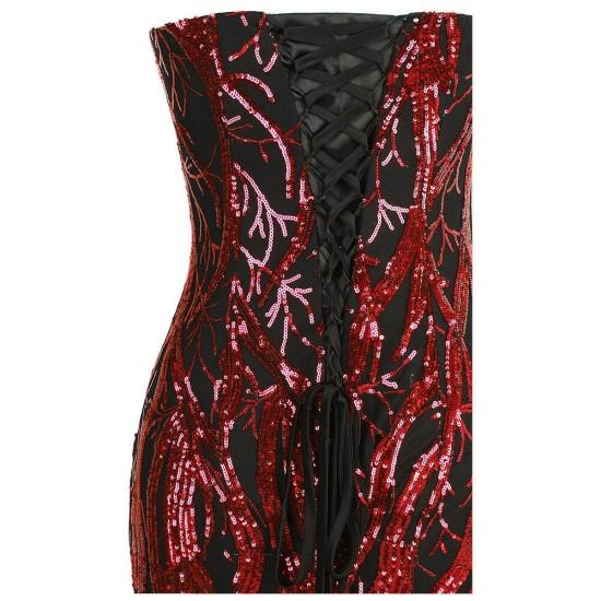 Дълга Официална Рокля с Блестящи Декорации Червено и Черно