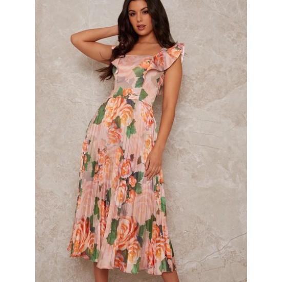 Eлегантна Официална Многоцветна Розова Рокля Средна Дължина Флорал